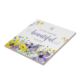 Everything Beautiful - Ecc 3:11 Small Square Tile