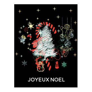 Everything Christmas Joyeux Noel Candy Cane Black Postcard