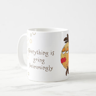 Everything is Going Swimmingly Whimsical Fish Art Coffee Mug
