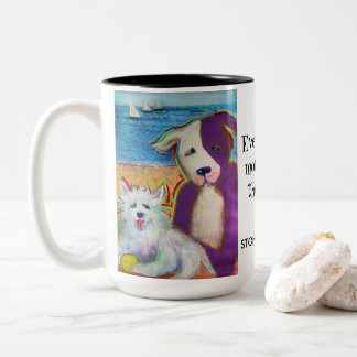Everything's more fun at the beach doggie mug