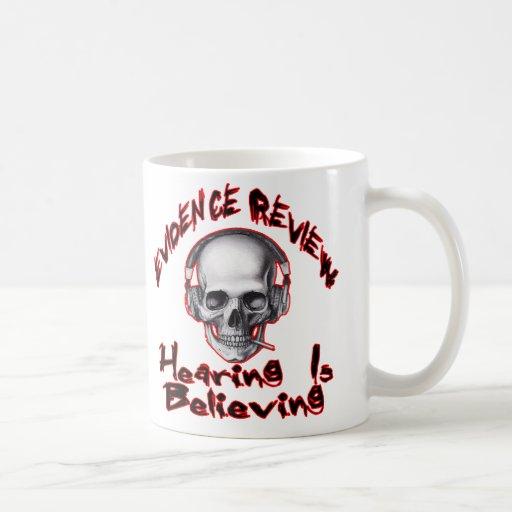 evidence review, gmps skull wings logo mug