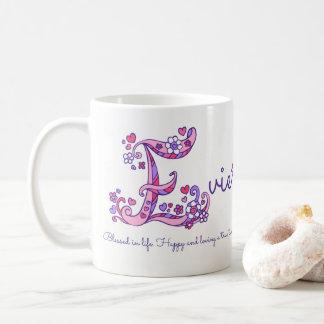Evie name meaning decorative E monogram mug