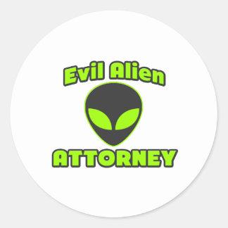 Evil Alien Attorney Round Sticker