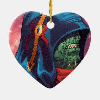 Evil Alien Diplomat Art by Al Rio Ceramic Heart Decoration