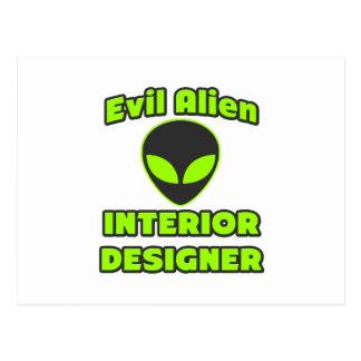 Evil Alien Interior Designer Postcard