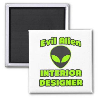 Evil Alien Interior Designer Square Magnet