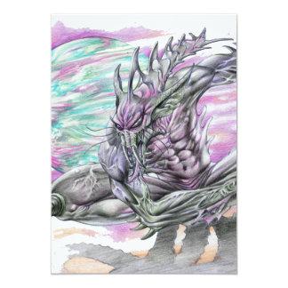 """Evil Alien Monster Futuristic Sci-Fi by Al Rio 5"""" X 7"""" Invitation Card"""