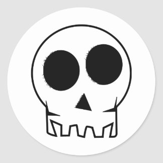 Evil and scary inky skull round stickers