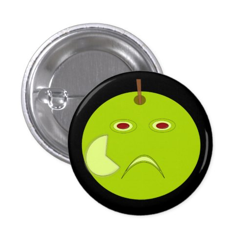 Evil Apple with Scar Halloween Button