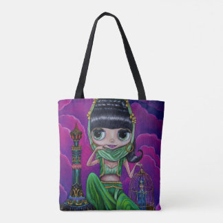 Evil Big Eye Green Genie Girl Magic Bottle Tote Bag