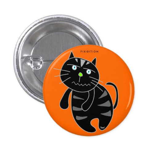 Evil Black Cat Halloween Button