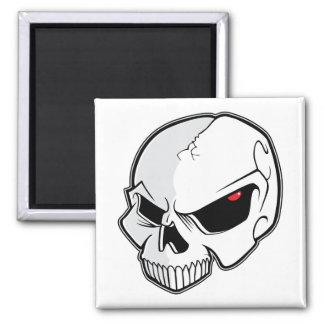 Evil Blood Red Eyeballs Skull 2 Inch Square Magnet