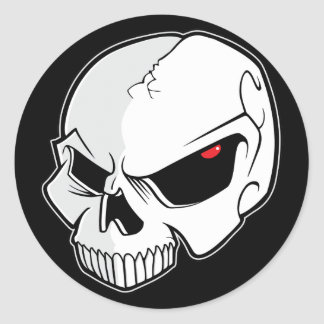 Evil Blood Red Eyeballs Skull Round Sticker