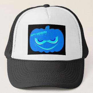 Evil Blue Halloween Pumpkin Trucker Hat