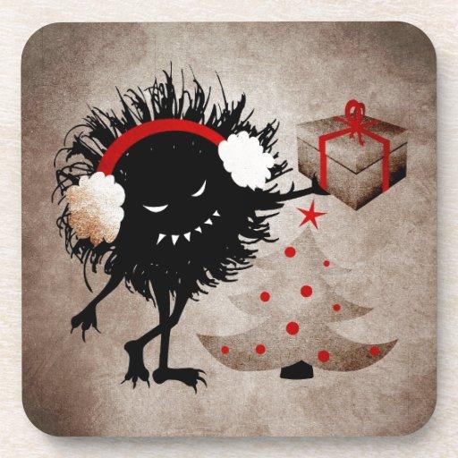 Evil Bug Gives Christmas Present Beverage Coaster