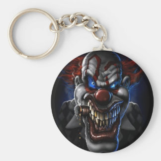 Evil Clown And Cigar Basic Round Button Key Ring