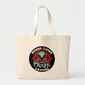 Evil Clown Biker T shirts Gifts Jumbo Tote Bag