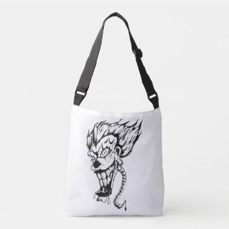 Evil clown cross body tote bag