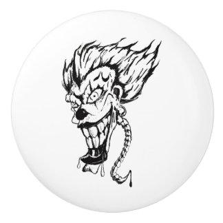 Evil clown Custom Ceramic door Knob