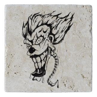 Evil clown custom stone trivet
