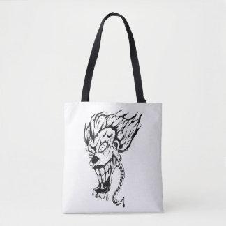 Evil clown custom tote bag