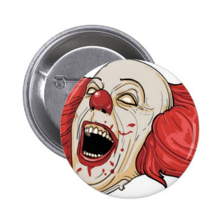 Evil clown design 6 cm round badge