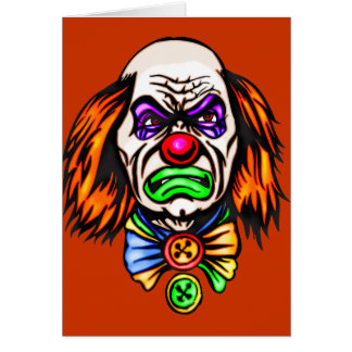 Evil Clown Face Card