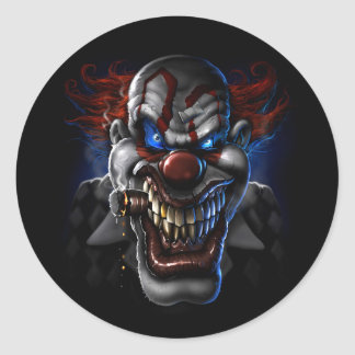 Evil Clown Face Round Sticker