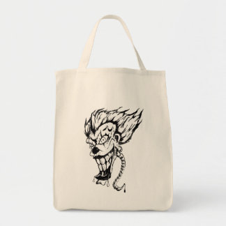 Evil clown grocery tote bag