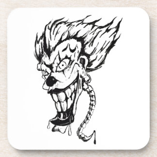 Evil clown Hard Plastic coasters set of 6