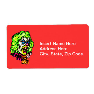 Evil Clown In Curled Wig Shipping Label