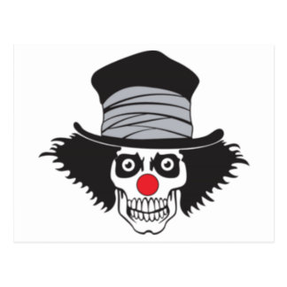 Evil Clown Skull In Top Hat Postcard