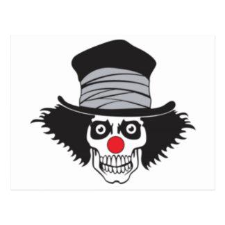 Evil Clown Skull In Top Hat Postcard