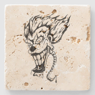 Evil clown Travertine coaster