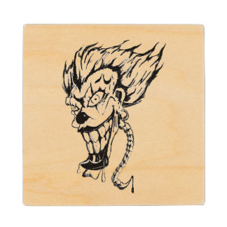 Evil clown Wooden Coaster