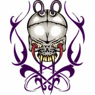Evil Cyborg Skull Standing Photo Sculpture
