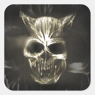 Evil Demonised Skull Square Sticker