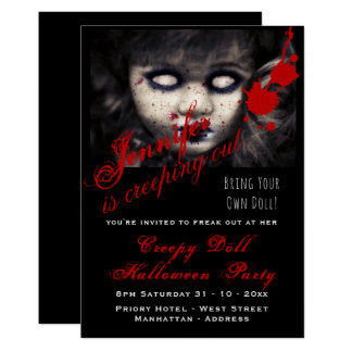 EVIL DOLL Halloween Invite Dead Creepy Scary