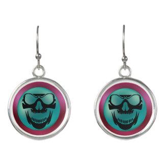 Evil Earrings - Teal Purple Skull Horror