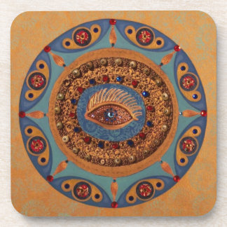 Evil Eye Mandala: Good Luck Symbol Coaster