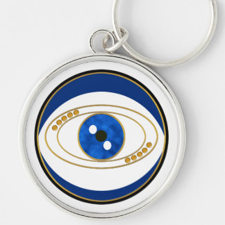 Evil Eye Silver Round Keychain