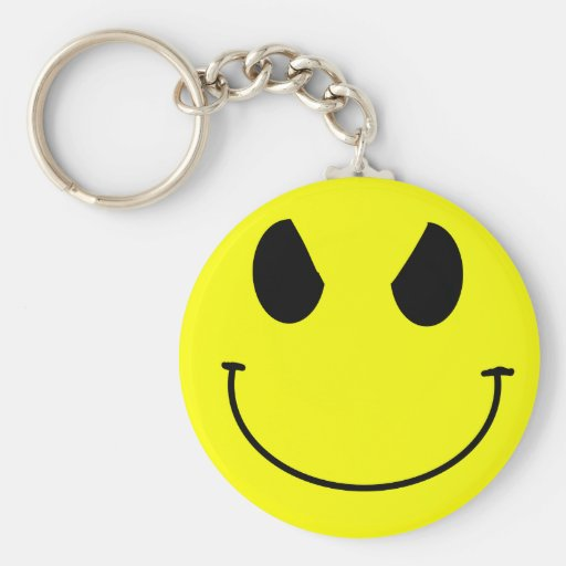 Evil Face Smiley Keychain