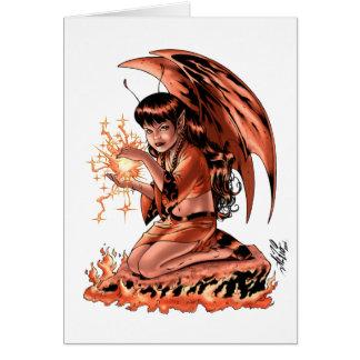 Evil Fairy doing Magic by Al Rio Greeting Card