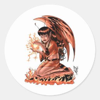 Evil Fairy doing Magic by Al Rio Round Sticker