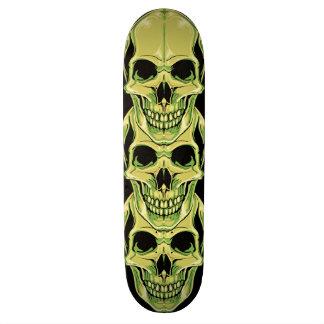 Evil Green Grinning Gothic Skulls Skate Board Deck