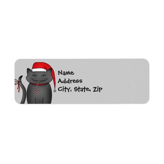 Evil grey Christmas kitty blue background Return Address Label