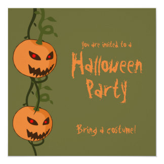 Evil Hanging Jack O'Lanterns Halloween Invitation