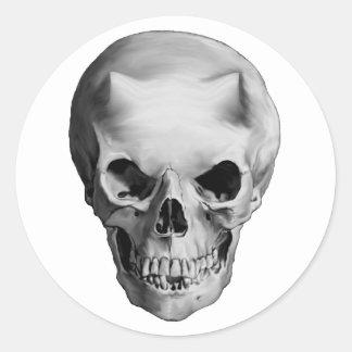 Evil Horned Demon Skull Round Sticker