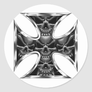 Evil Iron Cross Classic Round Sticker