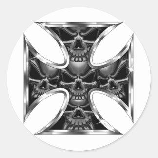 Evil Iron Cross Round Sticker